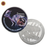WR Dinosaur World Pachycephalosaurus Novelty 999.9 Silver Coin Home Decorative Dinosaur World Metal Coins Art Ornament