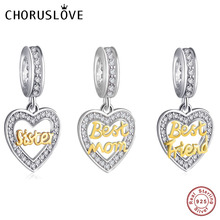 Choruslove Love Heart Dangle Charm Sister Mom Bead 925 Sterling Silver Best Friend Beads fit Pandora Charms DIY Bracelet Jewelry