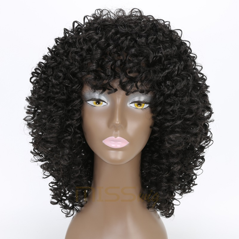 MISS WIG 20Inches Black Long Afro Kinky Curly Short Wig For Black Women 300g Afro Wig Synthetic Wigs African Hairstyle