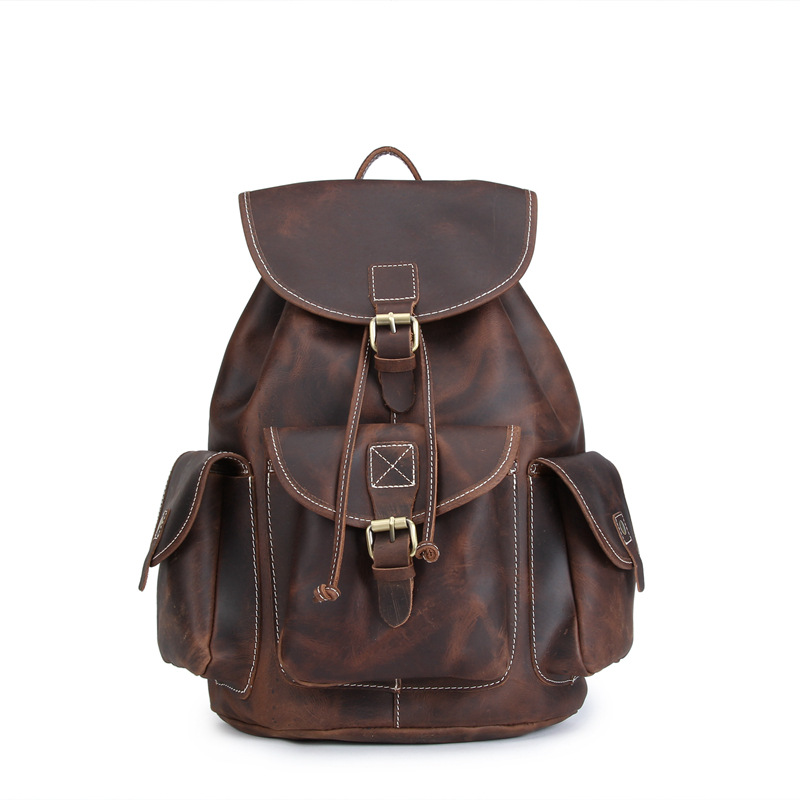 Men's Backpack New Retro Genuine Leather Backpack Men's Bag Top Layer Leather Retro Old Style Crazy Horse Skin Mochila монитор philips 21 5 224e5qhsb 00 01 black cherry 224e5qhsb 00 01