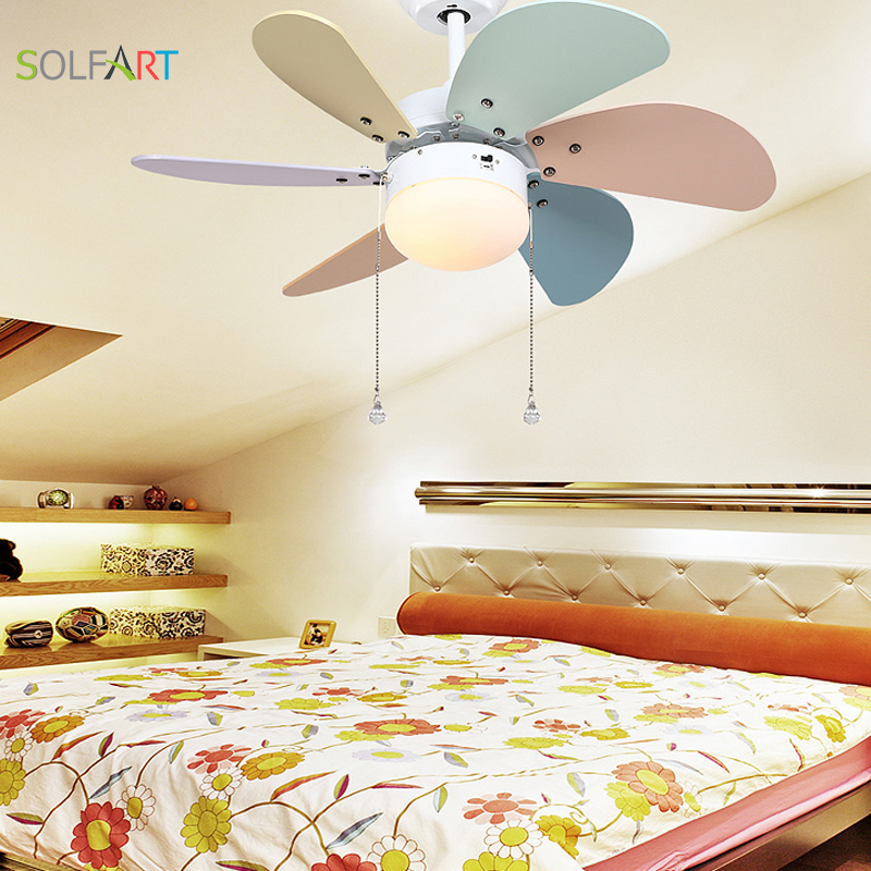 SOLFART Roof Fan Modern Ceiling Fan Kids Room Led Ceiling Fan With Light  Mute Security Natural Wind Colorful Fan Leaf Slf2079 In Ceiling Fans From  Lights ...