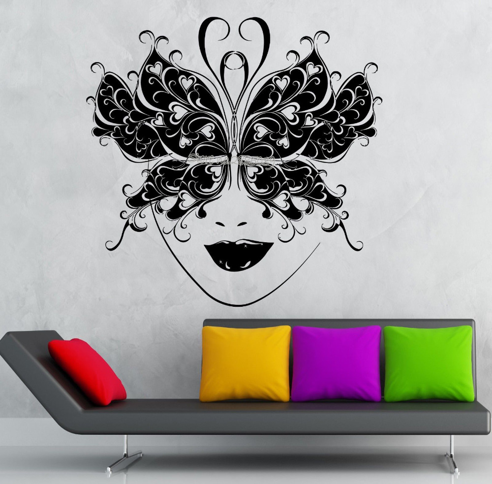 Sexy Girl Face Wall Decals Vinyl Removable Decal Masquerade Mask Theatre Art Interior Decor Wall Sticker Vinilos Paredes LA552