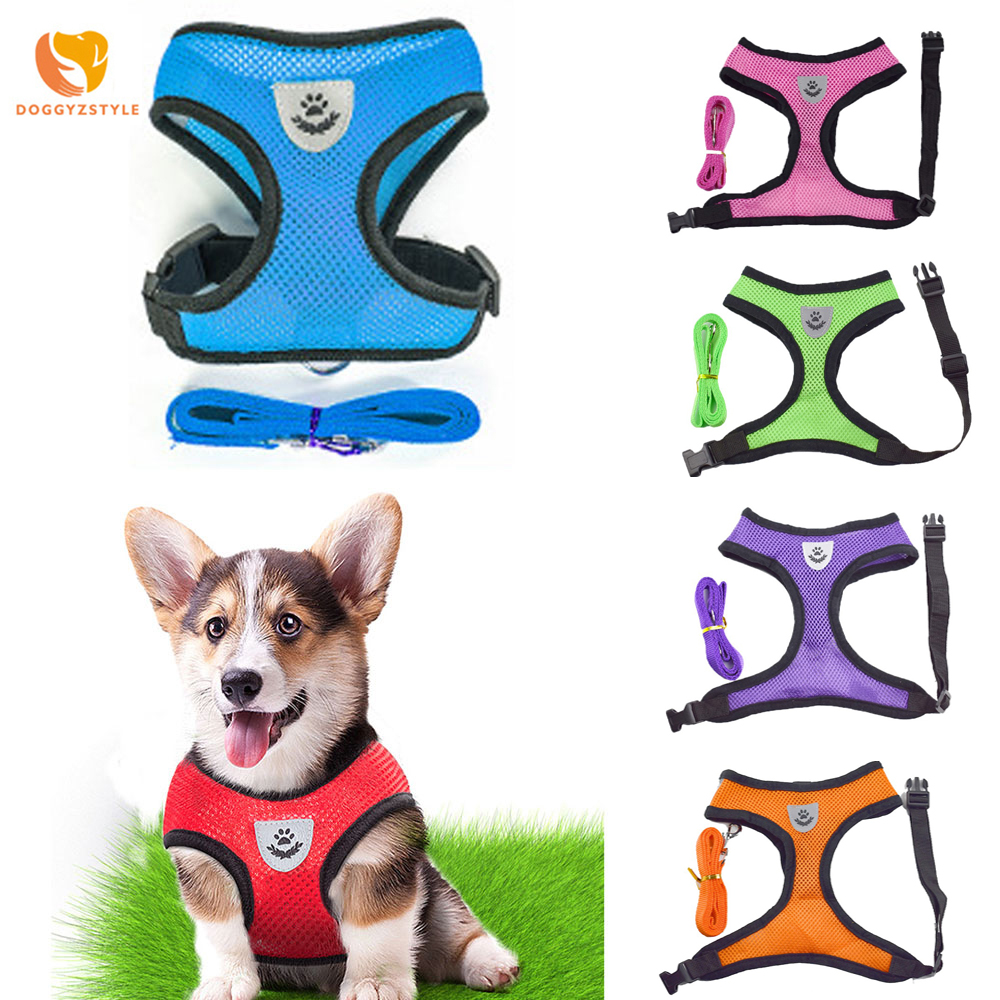 Breathable Mesh Small Dog Pet Harness Leash Set Puppy Cat Vest Harness Collar For Chihuahua Pug Bulldog Cat Arnes Perro Kitten