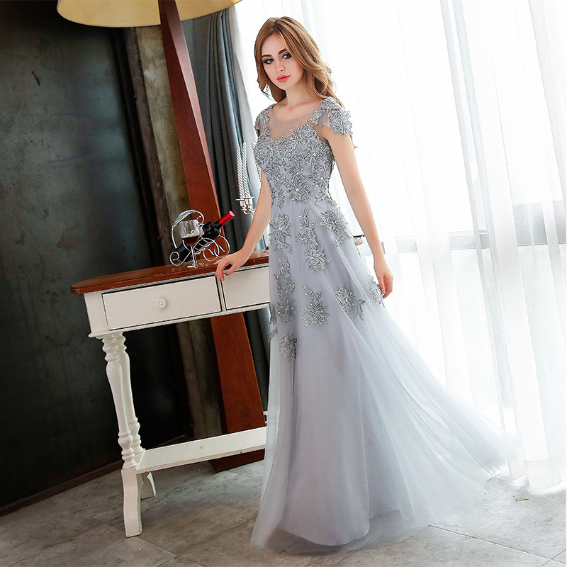 New Fashion Long Evening Dresses Grey Lace Embroidery Beading Party