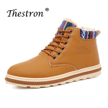 Thestron New Arrival Military Winter Boots For Men Ankle Warm Snow Shoes Male Leather Army Low Tactical