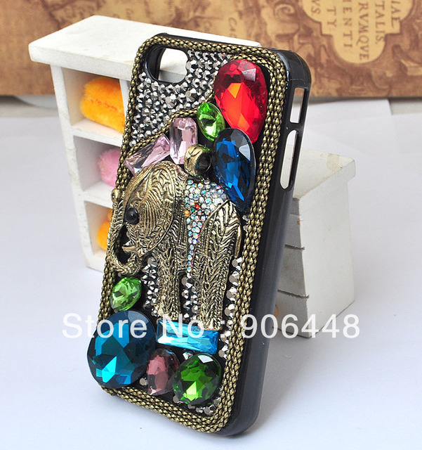 Free Shipping Handmade Cell Phone Case for iphone 4 4s 5 with Alloy Bronze Elephant and Bling Colorful Crystal Rhinestone Gems