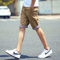 Новый 2017 Лето Шорты Мужчины Мода Повседневная Плед Ruched Грузов стиль Хлопок Шорты Slim Fit Пляж Мужские Шорты М 3XL
