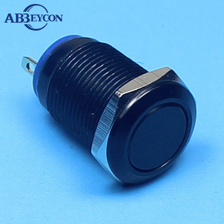 TY 1244 12mm 1NO Push Button Flat Head Momentary Black Aluminum Oxidation Waterproof Black Push Button