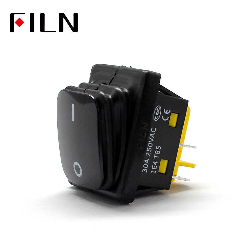 on off 30A/250V heavy duty 4 pin DPST IP67 Sealed Waterproof t85 Auto Boat Marine Rocker Switch Black no LED