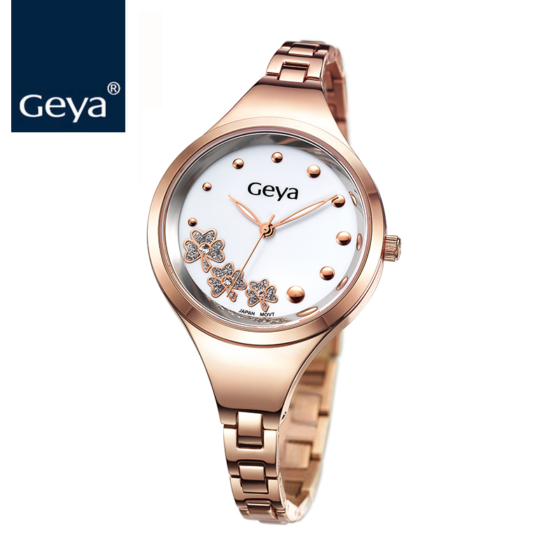 Geya Women Watches Luxury Brand Fashion Quartz-watch Rose Gold Women Dress Discolor Flower Dial Bracelet Watch Ladies Wristwatch bs brand women luxury fashion rhinestone watches lady shining dress watch square bracelet wristwatch ladies diamond quartz watch