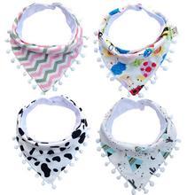 Bibs & Burp Cloths Cotton Printed Baby Triangle Striped Feeding Towel Newborn Infants Bebe Accessories