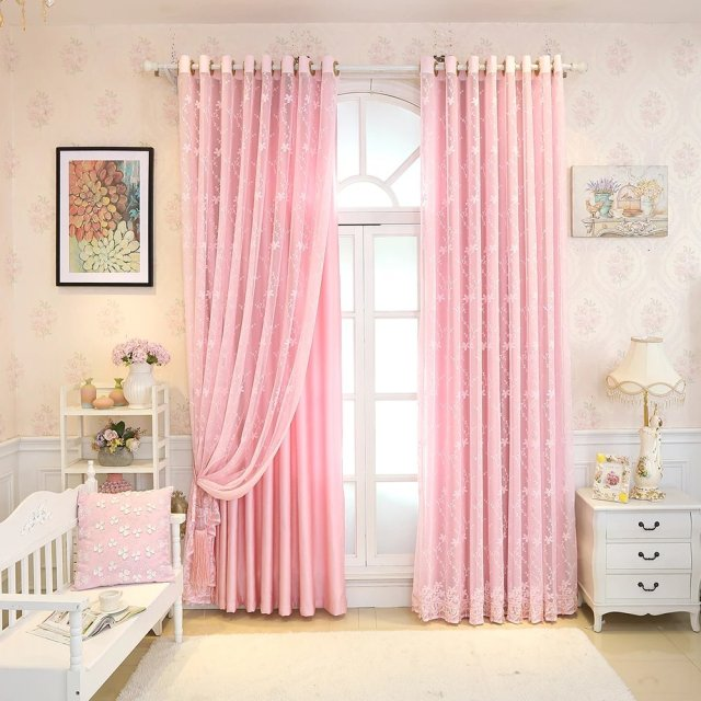 Modern Cotton Linen Curtains Green Pink Window Curtains Quality Bedroom  Tulle Curtains Door Curtain For Living