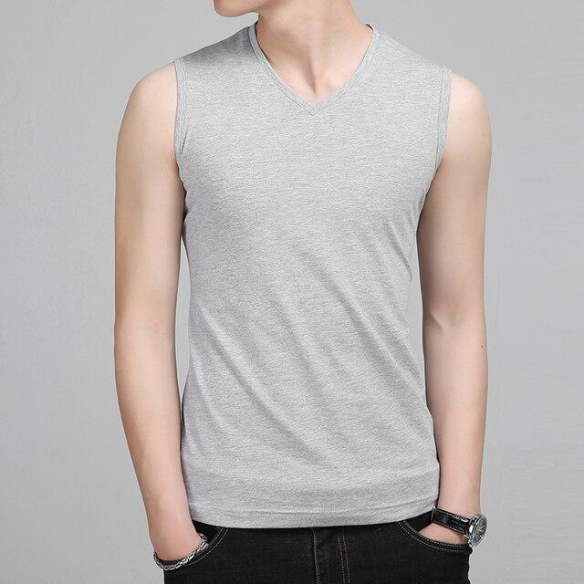 Liseaven Men V Neck Tank Tops Bodybuilding Fitness Tops Tees Slim Fit T Shirt Vest Men's Clothing Sleeveless T-Shirts 3