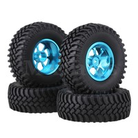 Mxfans 4 x RC1:10 Rock Crawler Black Alloy 7 Spoke Wheel Rim + Simulation Rubber Tyre