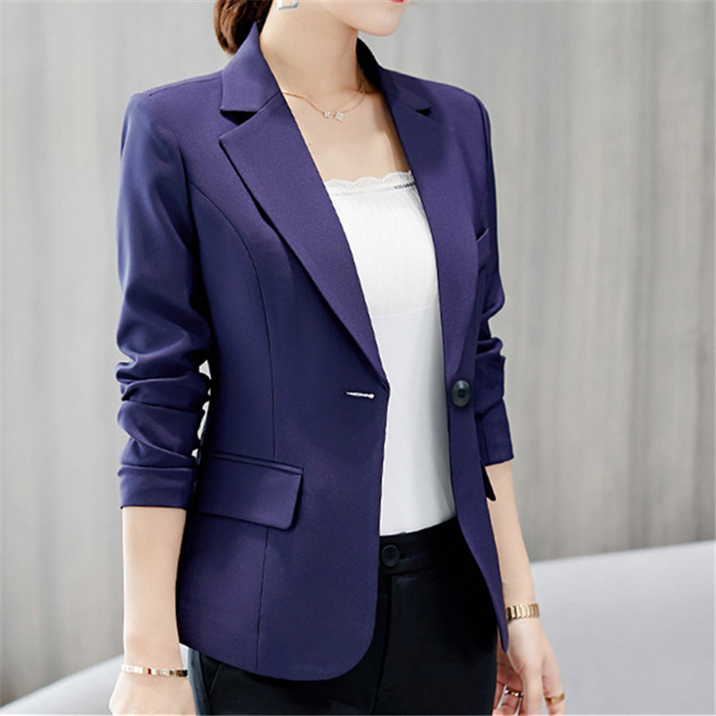 New Spring Autumn Business Style Ladies Office Blazers Single Button High Quality Long Sleeve Blaz Solid Color Women Small Suits