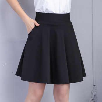 2019 Spring & Autumn Women Pleated Skirt Korean Slim Sexy Solid Color Oblique Pocket Elastic High Waist Skirt Black Mini Skirt - DISCOUNT ITEM  26% OFF All Category