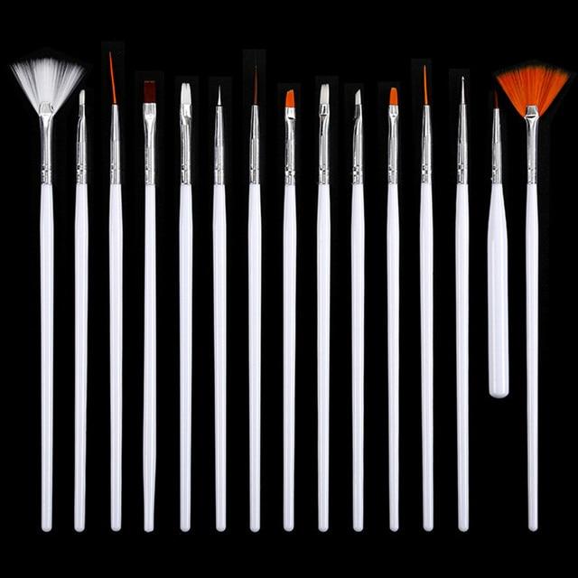 15 pieces mixed colorful  Nail Tools  Dotting Painting Drawing Pen Nail Art  Gel Polish Brushes Tools  H0045