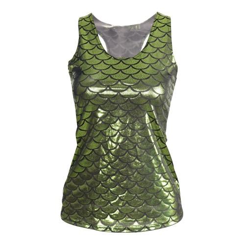 E145 Fashion 2015 Women Sleeveless Camisole Mermaid 3D Digital Printed Crop Top Ladies Vests Tops Shirt Tank