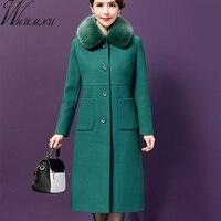 Wmwmnu 2017 Autumn Winter Women Woolen Coat Outerwear Female Mid Long Fur Collar Slim Jacket Women