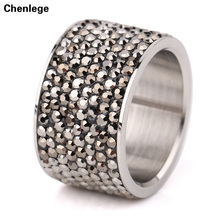 8 row new arrival women's crystal rings 2017 ladies charms female finger rings fashion jewelry stainless steel rhinestone rings