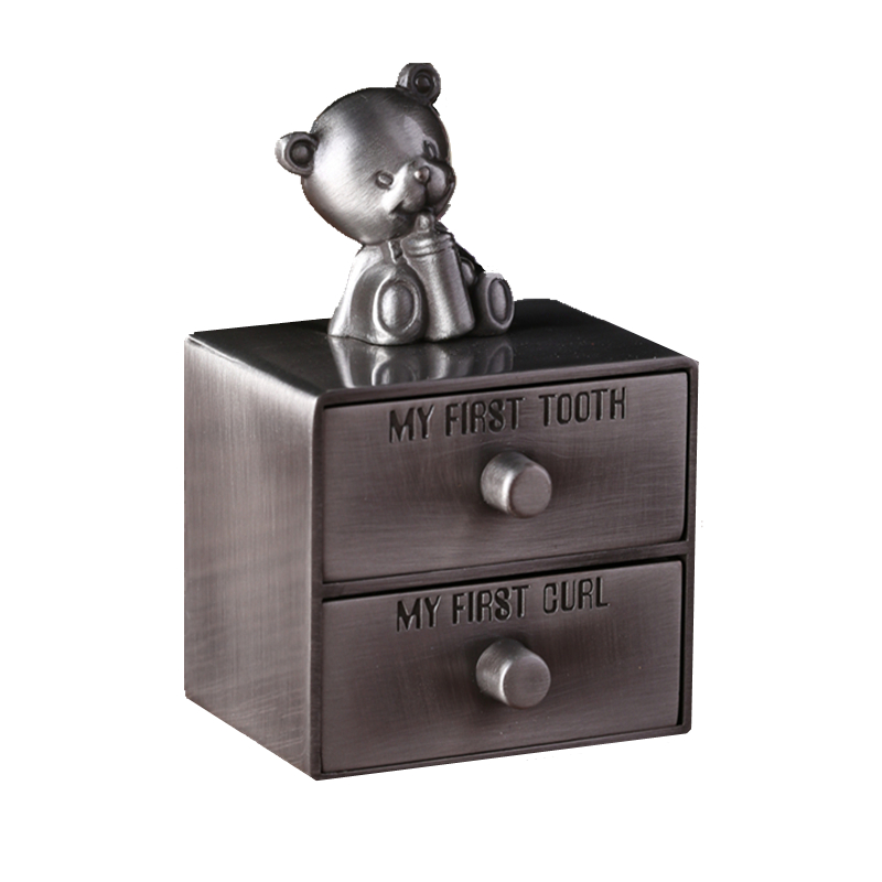 Baby Bear Shape Zinc Alloy Milk Teeth Umbilical Cord Box Tooth Organizer For Kids Drawer Design Collection Memorial Box Z752