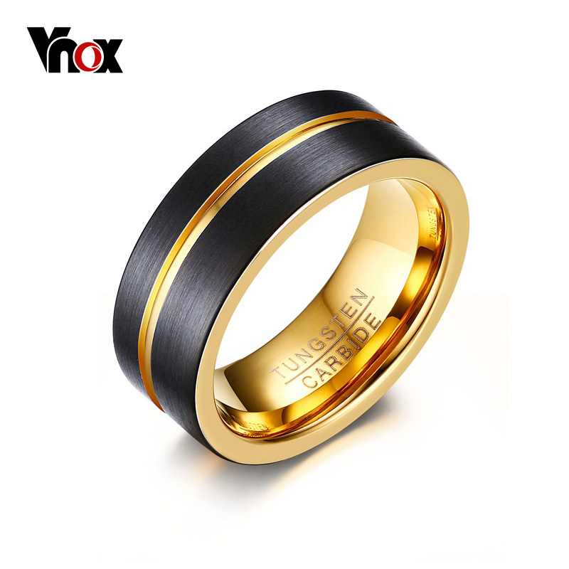 Vnox Dünne Gold-farbe Linie Ring für Männer Schmuck 8 MM Schwarz Hartmetall-ring