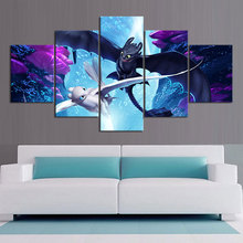 Cartoon Picture Canvas Art Painting Wall 5 Panel Movie How To Train Your Dragon Posters Toothless Print Home Decor Frame