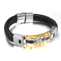 Fashion Mens Womens Leather Rope Bracelet Tribal Braided Cuff Bangle Stainless Steel Button Decorations For Women