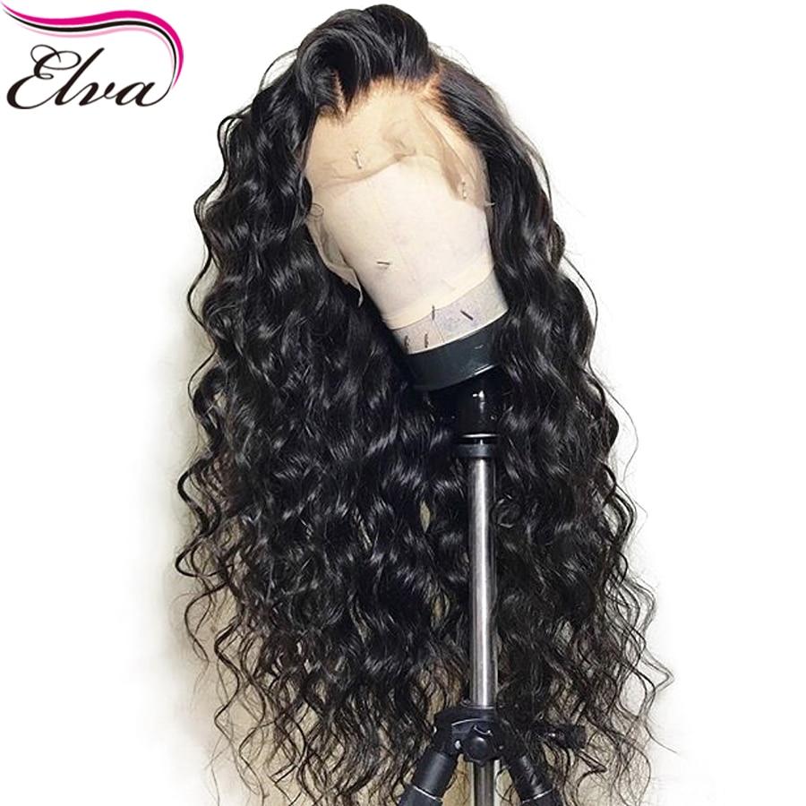 150% densité 13x6 avant de lacet perruques de cheveux humains avec des cheveux de bébé sans colle brésilienne Elva perruques de cheveux bouclés avant de lacet perruque pré plumée