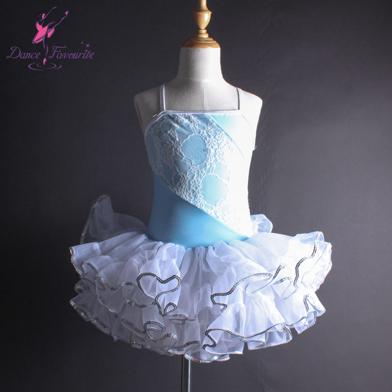 white lace and pale blue spandex bodice ballet tutu, camisole dance costume performance ballet tutu, ballerina tutu