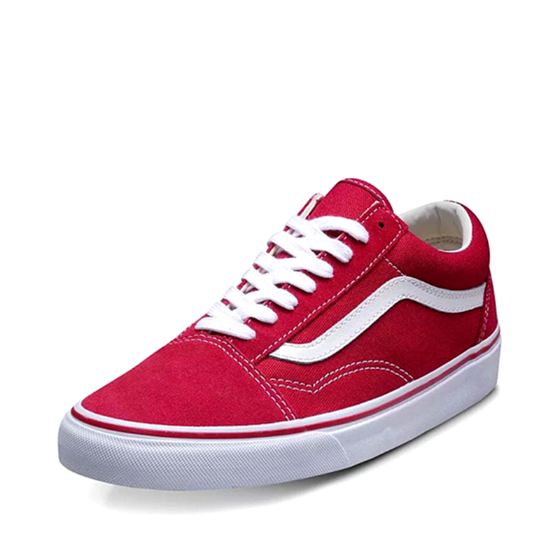 Original Vans Old Skool Red Colour Low Top Unisex Men Women Skateboarding  Shoes Sport Shoes Classic Lace up Canvas Sneakers-in Skateboarding from  Sports ... 3af0668f7