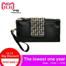 4cb9d44292 PU Leather Waterproof Women Handbag Fashion Rivet Stud Long Day Clutch Bag  for Lady Black Female Party Evening Tote Purse Pouch