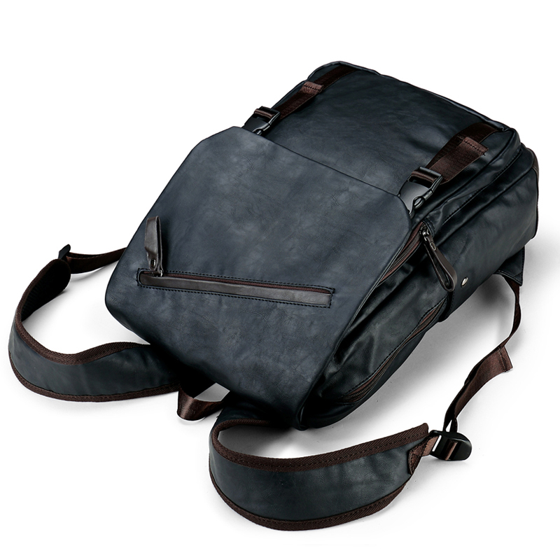 7f7bc1c9a90d ... BaiLiLaoRen Brand Fashion Mens Backpack PU Leather Backpacks Black Male  School Bags Laptop Backpack Man Casual ...
