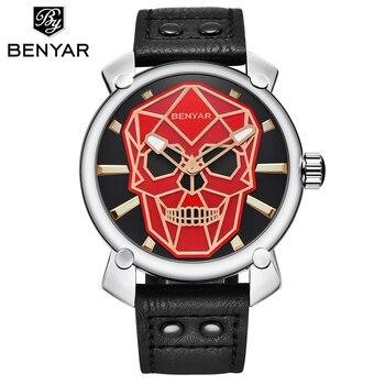 Fashion Creative Skull quartz Watch Men Benyar Sport Military Leather Wrist Watches for Men Clock Relogio Masculino Reloj Hombre