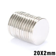 XOHY 10pcs 20 x 2 mm N35 Super Strong 20mm x 2mm Powerful Disc Round Magnet Rare Earth Permanent Neodymium Magnets