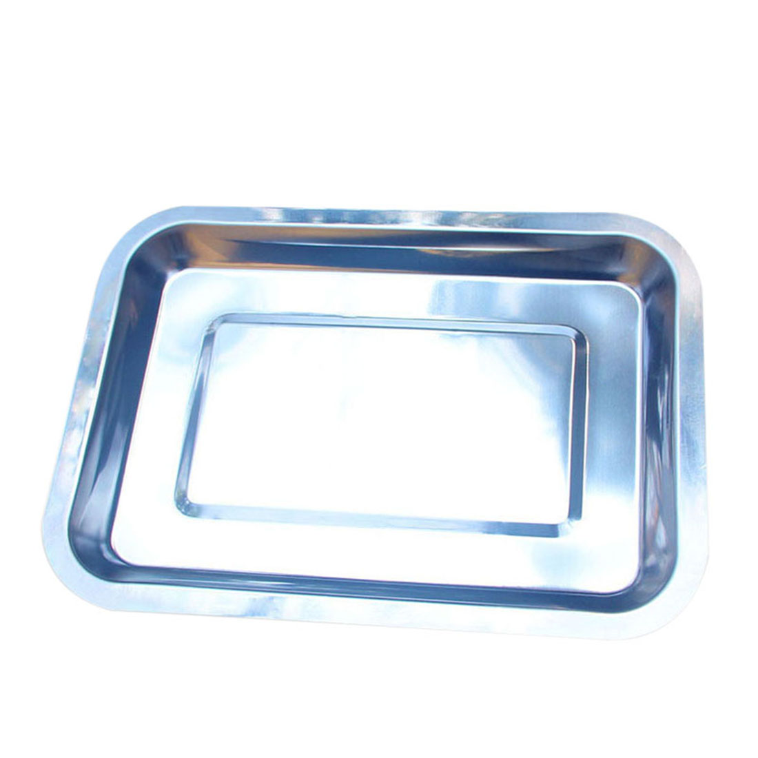 Stainless Steel Tray 1pcs Dish Box Container Serve Storage Keeper Tray Barbecue Essential Supplies Tableware Plates ...