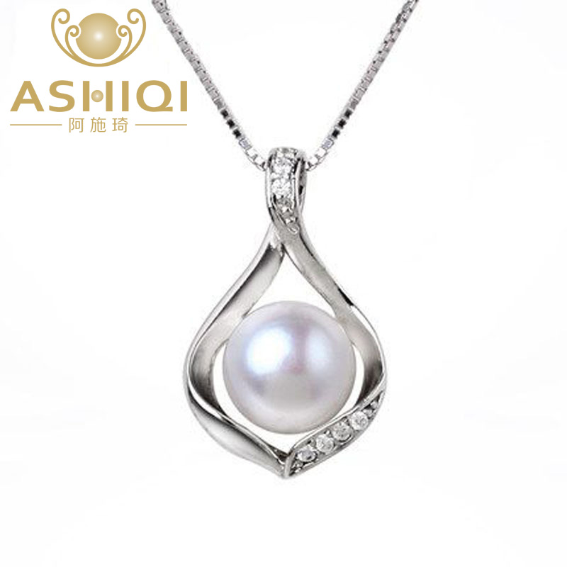 ASHIQI Natural Freshwater pearls necklace & Pendants Real 925 - Fine Jewelry