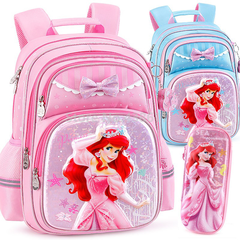 Fashion Little Mermaid Princess Ariel Girls School Bag Pencil Case For Kids Children Elementary Primary School