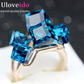 Uloveido Ladies Crystal CZ Engagement Cocktail Ring Large for Women Zirconia with Blue Stones Rhinestones Jewellery Gifts GR123