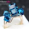 Uloveido senhoras de cristal anel grande para as mulheres de zircônia cz engagement cocktail com pedras azuis strass jóias presentes gr123