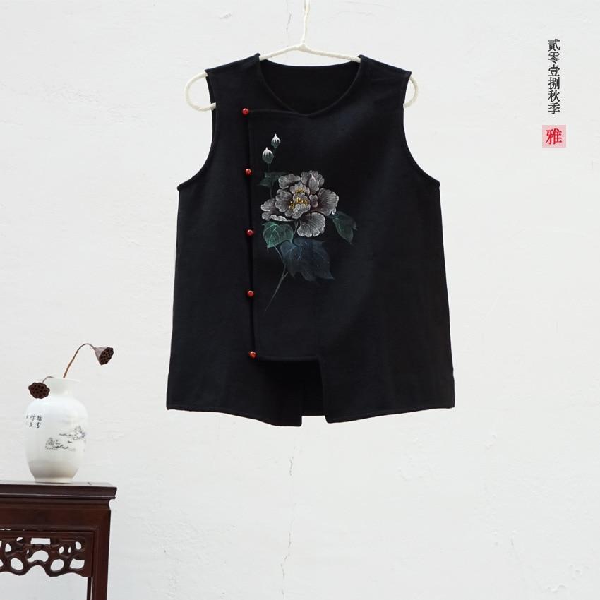 New Women s Autumn Winter Was Thin Loose Hand painted Wool Vest Waistcoat Vest Short Coat