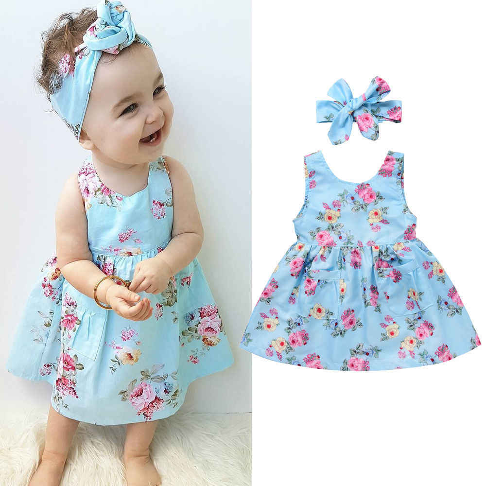 Pudcoco Newest Toddler Girls Kids Summer Cotton Fashion Sleeveless Crew Neck Flower Dress+Headband 0.5-4Y