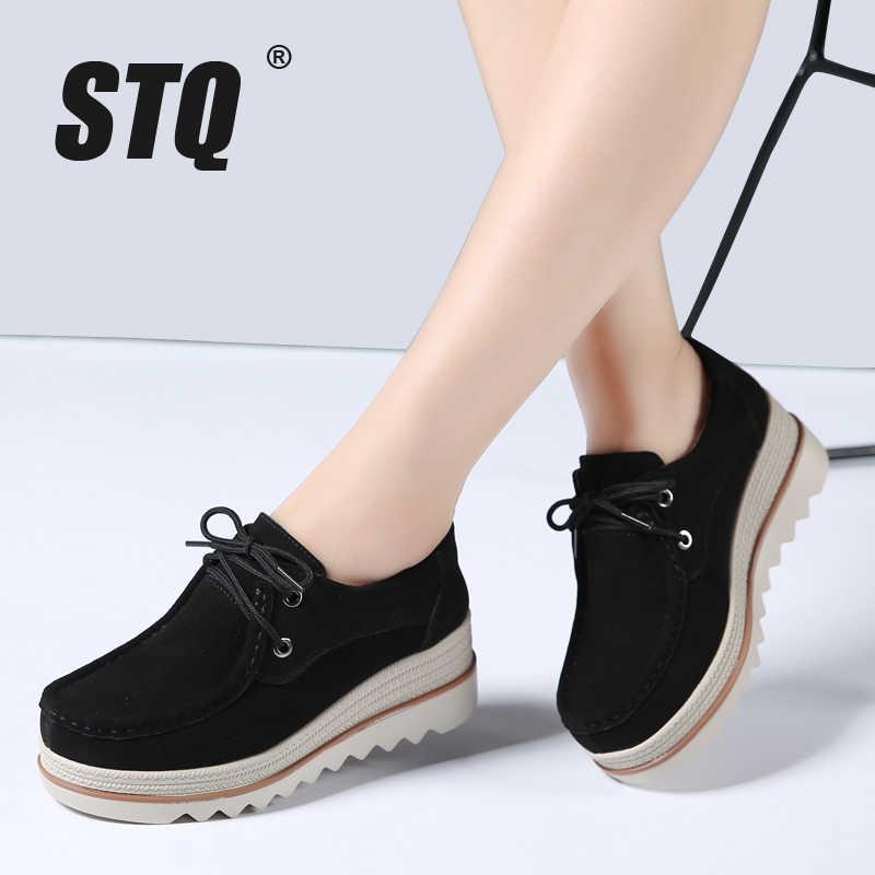 0d0d5778e STQ/2019 весенние женские туфли на плоской подошве, замшевые кроссовки на  толстой подошве,