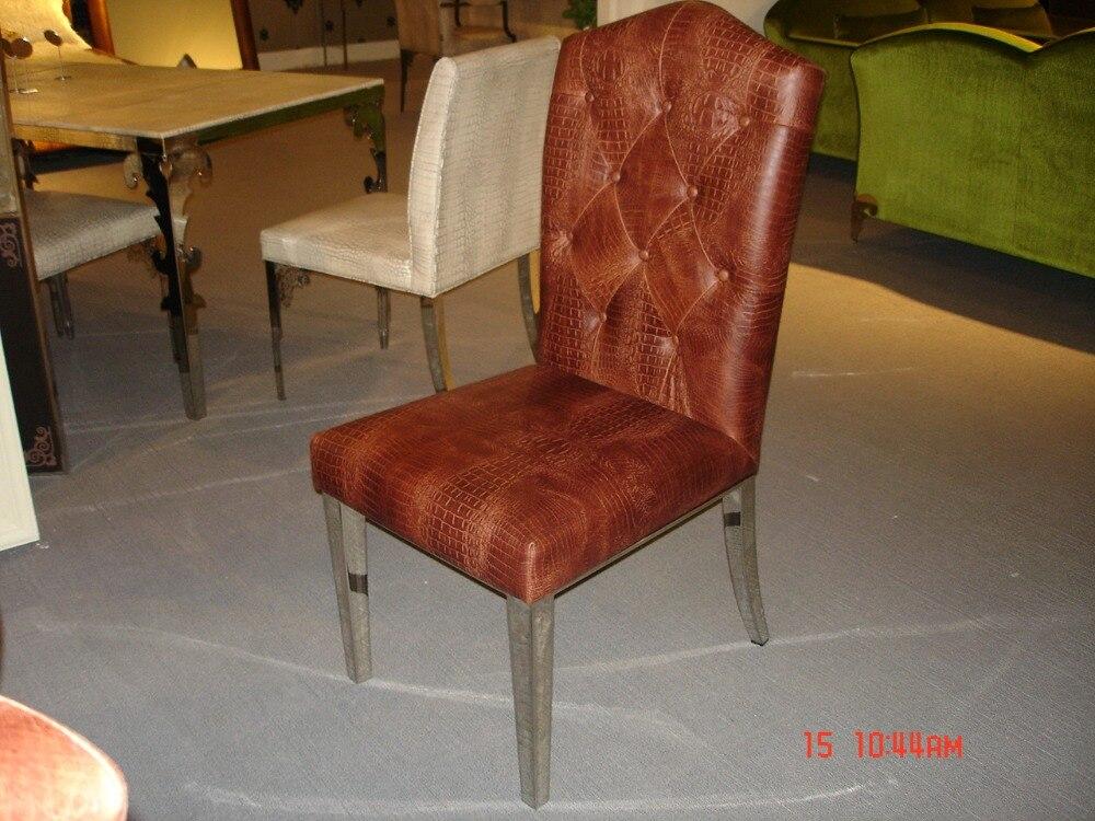 Rvs eettafel voorzien eetkamer set met 6 stoelen marmeren top table
