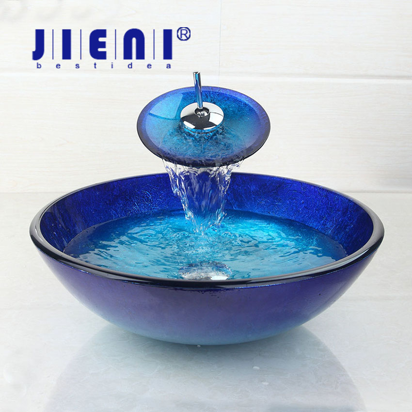 US Blue Chrome Tall Basin Tap+Bathroom Sink Washbasin Tempered Glass Hand-Painted Waterfall Bath Brass Set Faucet,Mixer Tap sports bluetooth earphone 4 1 stereo earbuds wireless headset bass earphones with mic in ear for iphone 7 samsung xiaomi