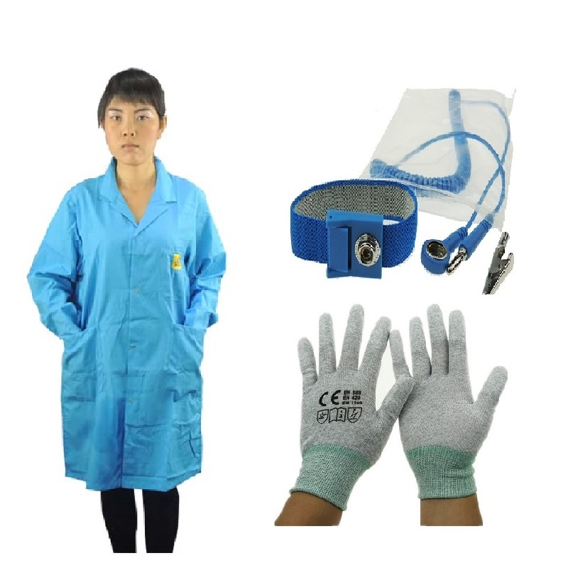 DSEGO Blue Color Cotton ESD Antistatic Lab Coat ESD Smock Work Wear ESD Garment With ESD Wrist Strap and Antistatic Gloves esd 1000