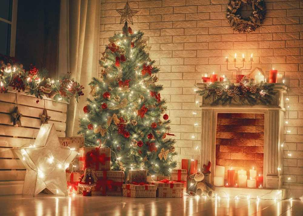 Dephoto Christmas Photography Backdrops gold star lantern Decoration Wooden Board Presents Tree Indoor Seamless Photo Background