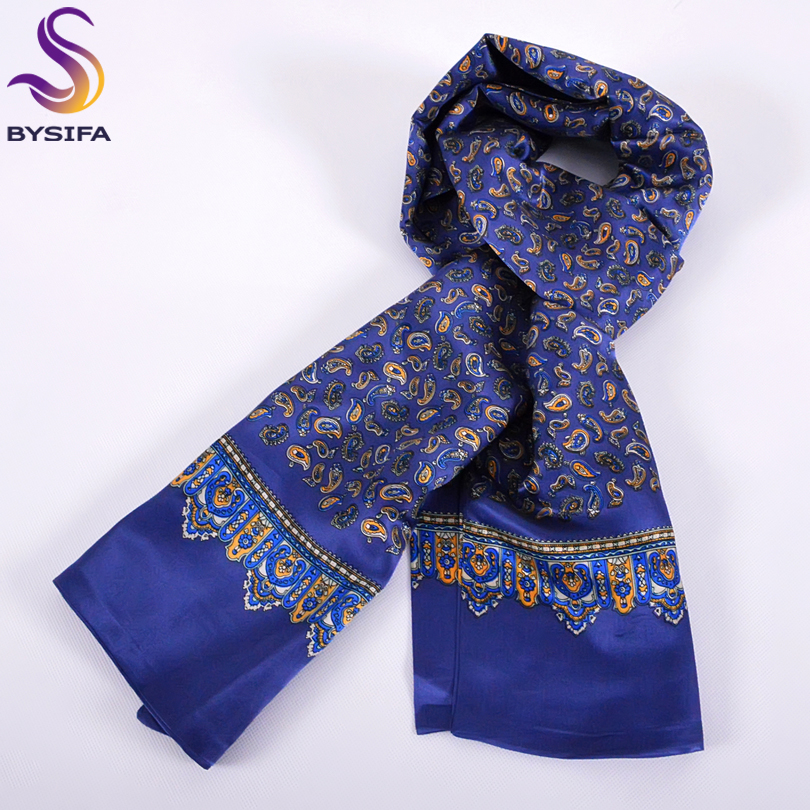 [BYSIFA] 2016 Winter New Men Blue Long Scarves Printed Fashion Brand Apparel Accessories Male Pure Silk Scarves Printed