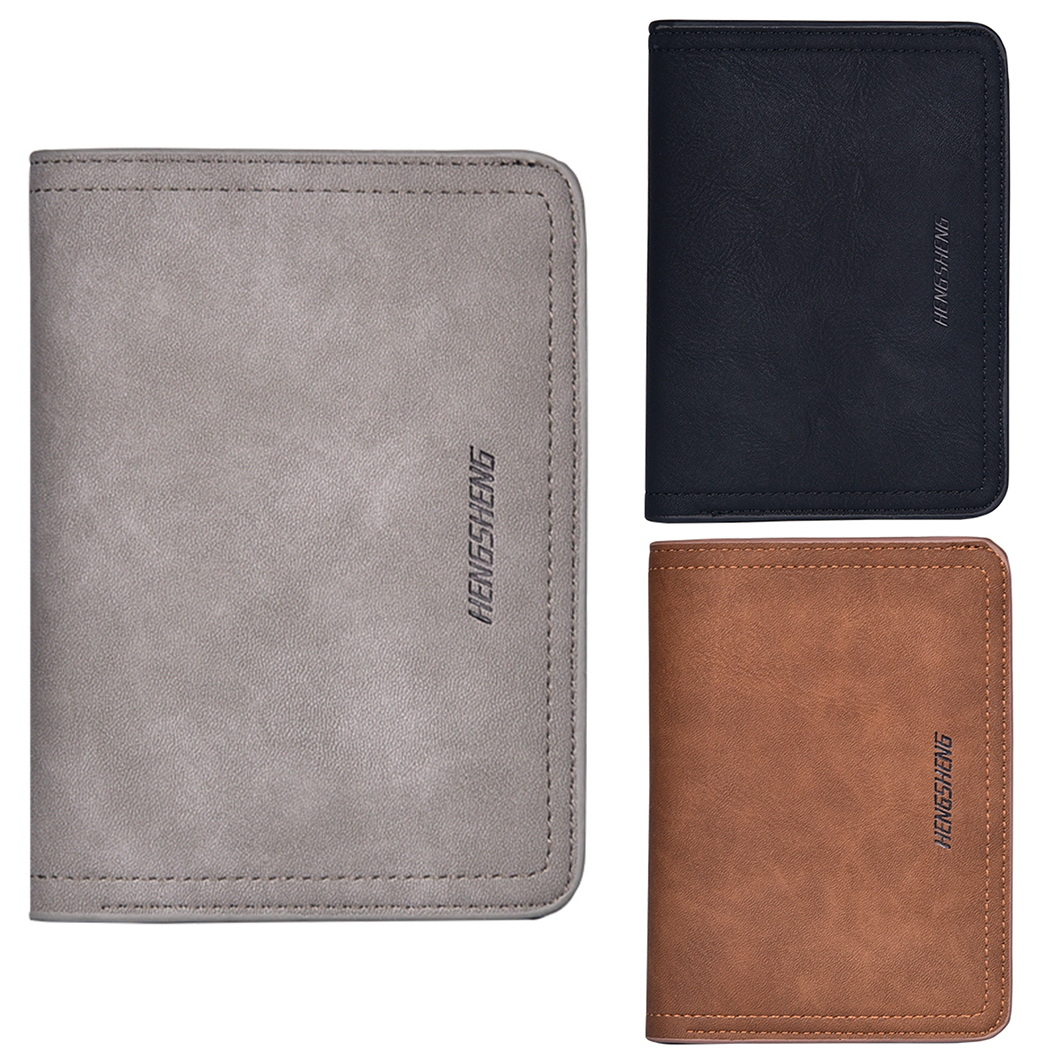 New Brand Retro Matte PU Leather money bag business men card Letter Wallet Solid Wallet Fashion Small Purse Short Purse