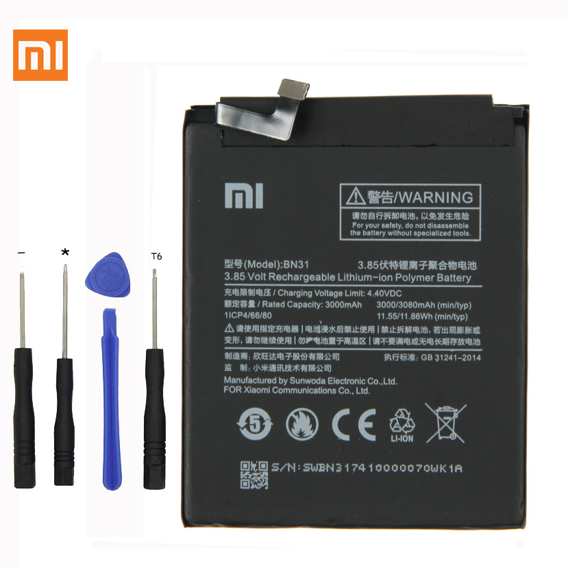 Xiaomi Phone-Battery BN31 Note-5a Redmi Original For 5X Mi5x/Redmi/Note-5a/.. 3080m
